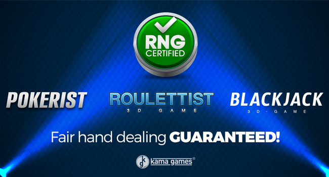 Fair Play Certificate For KamaGames Products Including Pokerist, Roulettist, & 3D Blackjack
